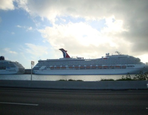 Carnival Cruise Ship, South Beach, Miami. Photo by Nicole Sganga.