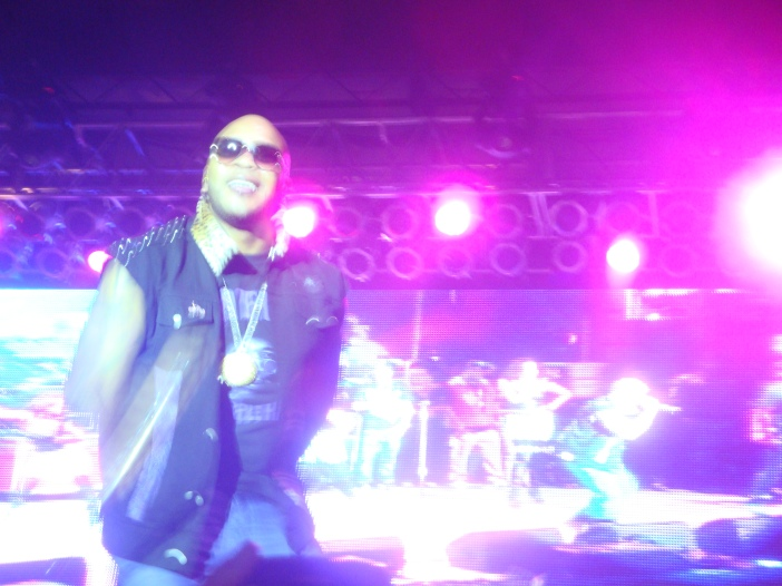 Flo Rida in between songs. Or forgetting to lipsynch, take your pick.