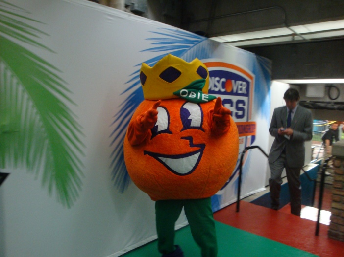 Obie the Orange Bowl Mascot. All photos by Clara Ritger.